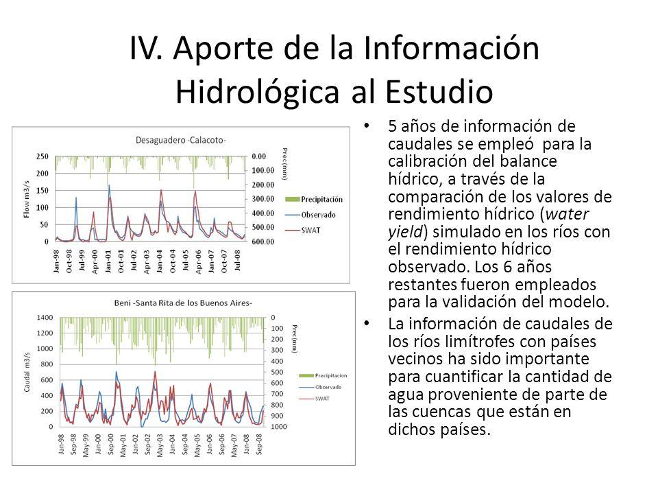 5 años de información de caudales se empleó para la calibración del balance hídrico, a través de la comparación de los valores de rendimiento hídrico