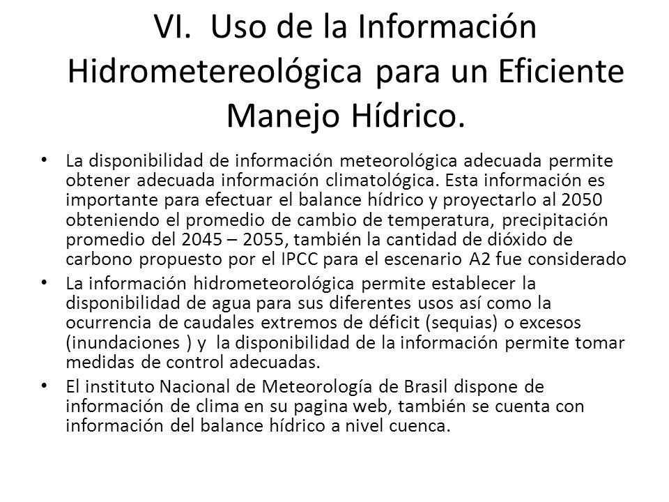 VI. Uso de la Información Hidrometereológica para un Eficiente Manejo Hídrico. La disponibilidad de información meteorológica adecuada permite obtener