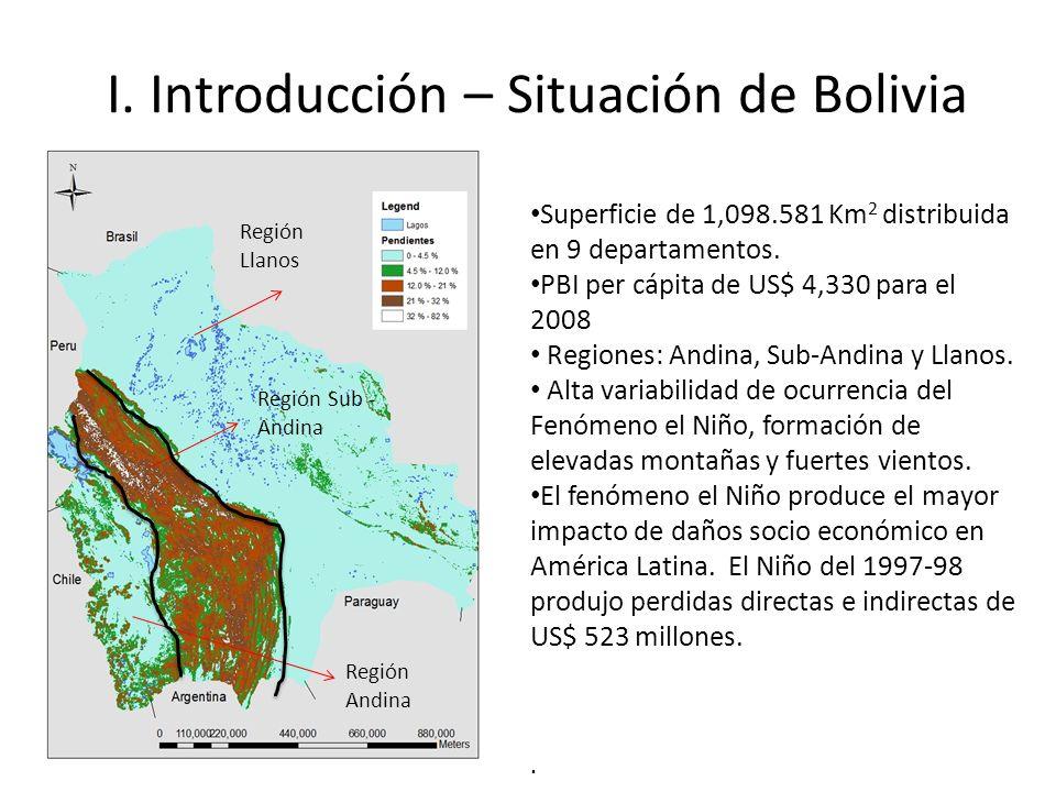 I. Introducción – Situación de Bolivia Superficie de 1,098.581 Km 2 distribuida en 9 departamentos. PBI per cápita de US$ 4,330 para el 2008 Regiones: