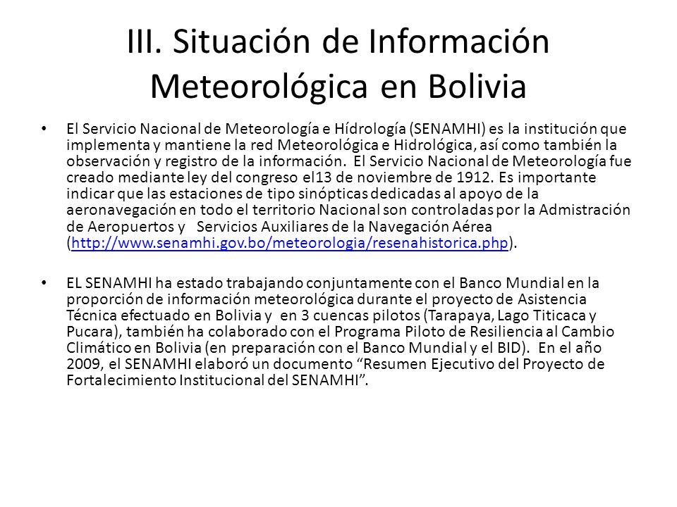 III. Situación de Información Meteorológica en Bolivia El Servicio Nacional de Meteorología e Hídrología (SENAMHI) es la institución que implementa y