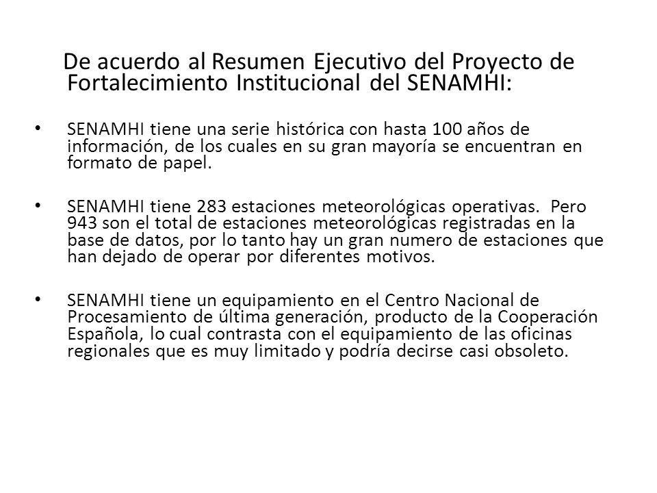 De acuerdo al Resumen Ejecutivo del Proyecto de Fortalecimiento Institucional del SENAMHI: SENAMHI tiene una serie histórica con hasta 100 años de inf