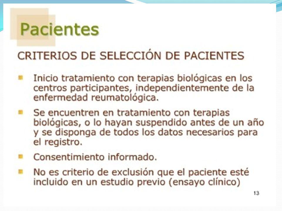 Incidencia de infecciones eventoCasos (biológicos) Controles (no biológicos) Riesgo Relativo Intervalo Confianza p Infecciones97 51,6% 17 39,5% IRR: 7.87 (IC 95%: 4.7 – 14) p= < 0.0001 Neumonía17 9% 2 4,7% IRR: 11.7 (IC 95%: 2.78 –104) p= < 0.0001 Herpes11 5,9% 0 IC: 0.003 – 0.011 p= <0.0001 Celulitis8 4,3% 2 4,7% IRR: 5.5 (IC 95%: 1.10 –53.36) p= 0.0099 Tuberculosis20