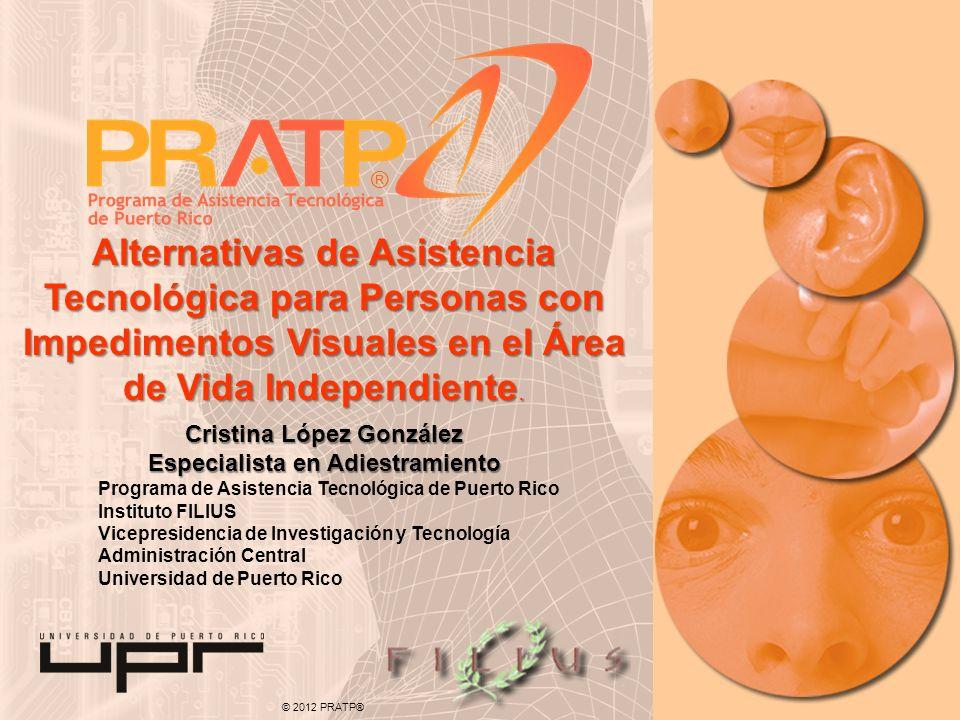 © 2012 PRATP® Programa de Asistencia Tecnológica de Puerto Rico Instituto FILIUS Vicepresidencia de Investigación y Tecnología Administración Central