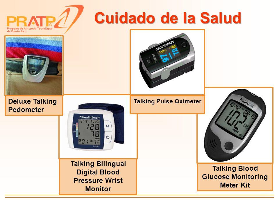 ® Cuidado de la Salud Talking Bilingual Digital Blood Pressure Wrist Monitor Talking Blood Glucose Monitoring Meter Kit Talking Pulse Oximeter Deluxe