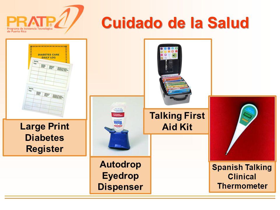 ® Cuidado de la Salud Large Print Diabetes Register Autodrop Eyedrop Dispenser Talking First Aid Kit Spanish Talking Clinical Thermometer
