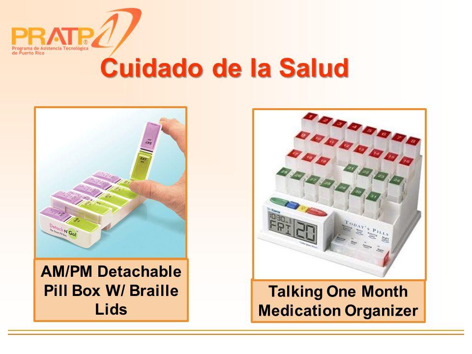 ® Cuidado de la Salud AM/PM Detachable Pill Box W/ Braille Lids Talking One Month Medication Organizer