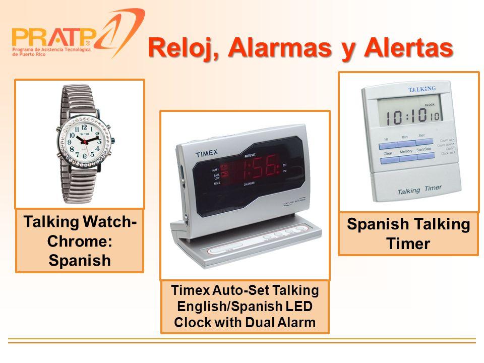 ® Reloj, Alarmas y Alertas Timex Auto-Set Talking English/Spanish LED Clock with Dual Alarm Spanish Talking Timer Talking Watch- Chrome: Spanish