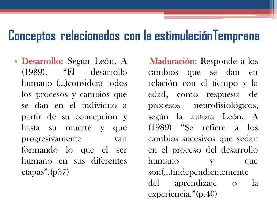 Conceptos relacionados con la estimulaciónTemprana Crecimiento: Crecimiento: De acuerdo con las investigadoras nacionales, Hernández,R y Rodríguez, S