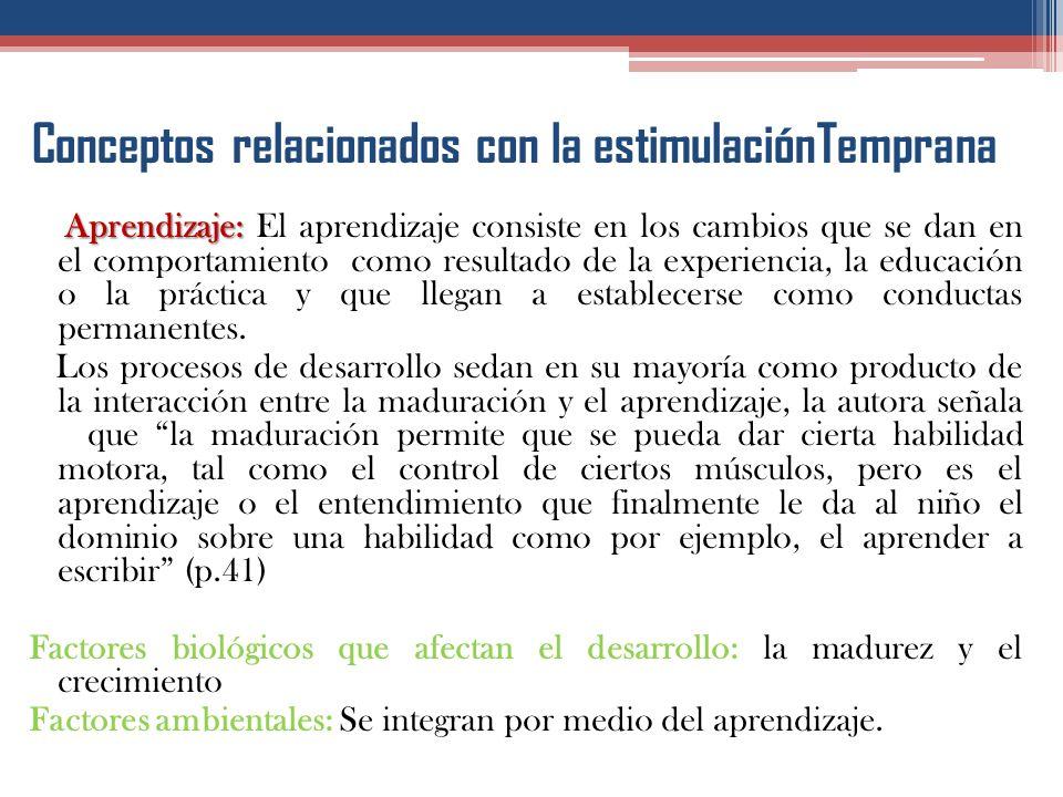 Conceptos relacionados con la estimulaciónTemprana Maduración: Maduración: Responde a los cambios que se dan en relación con el tiempo y la edad, como