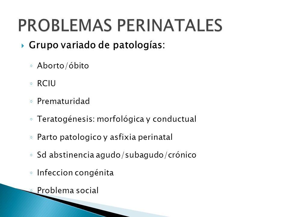 Grupo variado de patologías: Aborto/óbito RCIU Prematuridad Teratogénesis: morfológica y conductual Parto patologico y asfixia perinatal Sd abstinenci