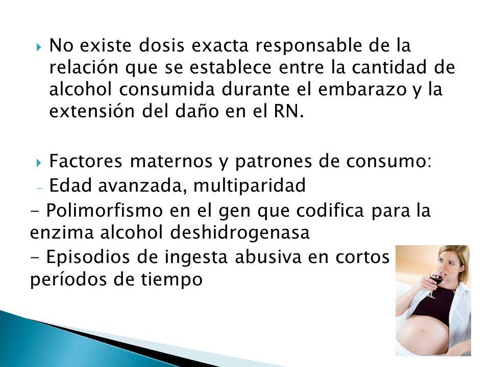 No existe dosis exacta responsable de la relación que se establece entre la cantidad de alcohol consumida durante el embarazo y la extensión del daño