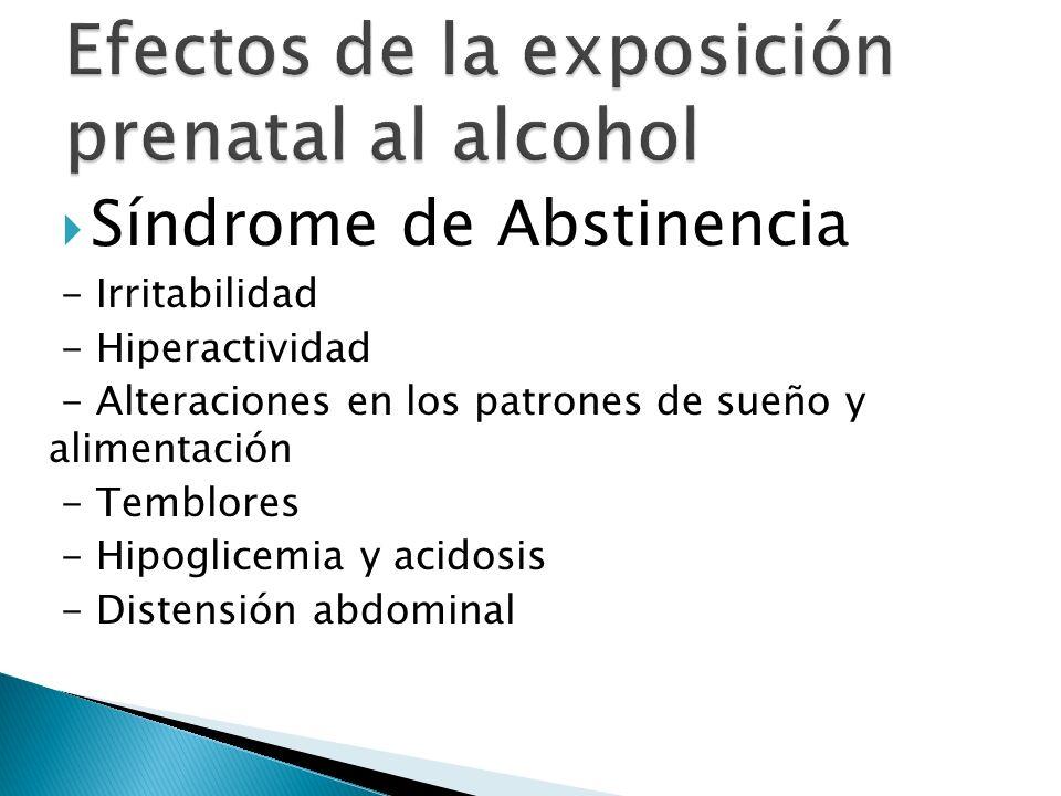 Síndrome de Abstinencia - Irritabilidad - Hiperactividad - Alteraciones en los patrones de sueño y alimentación - Temblores - Hipoglicemia y acidosis