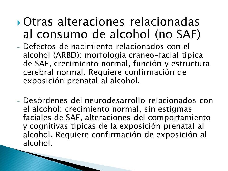 Otras alteraciones relacionadas al consumo de alcohol (no SAF) - Defectos de nacimiento relacionados con el alcohol (ARBD): morfología cráneo-facial t