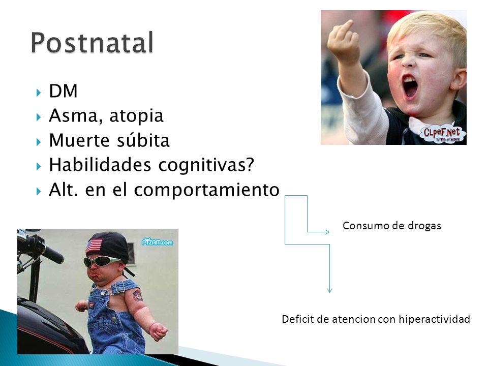 DM Asma, atopia Muerte súbita Habilidades cognitivas? Alt. en el comportamiento Consumo de drogas Deficit de atencion con hiperactividad