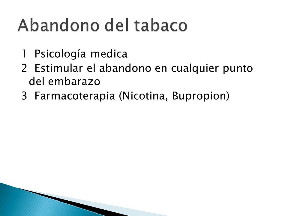 1 Psicología medica 2 Estimular el abandono en cualquier punto del embarazo 3 Farmacoterapia (Nicotina, Bupropion)