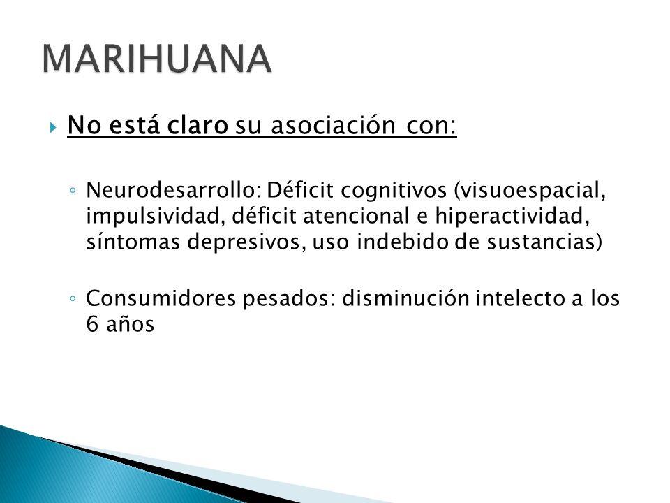 No está claro su asociación con: Neurodesarrollo: Déficit cognitivos (visuoespacial, impulsividad, déficit atencional e hiperactividad, síntomas depre