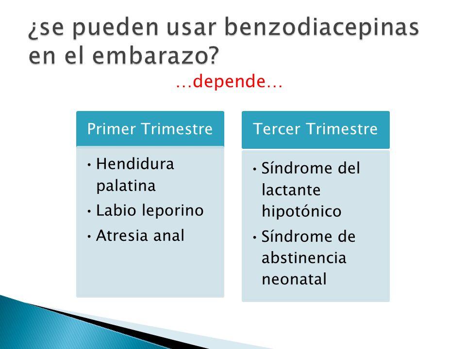 …depende… Primer Trimestre Hendidura palatina Labio leporino Atresia anal Tercer Trimestre Síndrome del lactante hipotónico Síndrome de abstinencia ne
