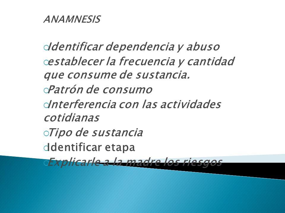 ANAMNESIS Identificar dependencia y abuso establecer la frecuencia y cantidad que consume de sustancia. Patrón de consumo Interferencia con las activi