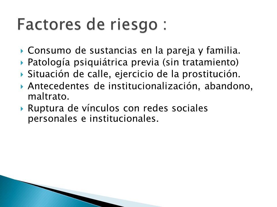 Consumo de sustancias en la pareja y familia. Patología psiquiátrica previa (sin tratamiento) Situación de calle, ejercicio de la prostitución. Antece
