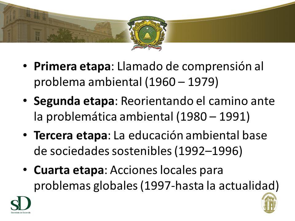 Primera etapa: Llamado de comprensión al problema ambiental (1960 – 1979) Segunda etapa: Reorientando el camino ante la problemática ambiental (1980 – 1991) Tercera etapa: La educación ambiental base de sociedades sostenibles (1992–1996) Cuarta etapa: Acciones locales para problemas globales (1997-hasta la actualidad)