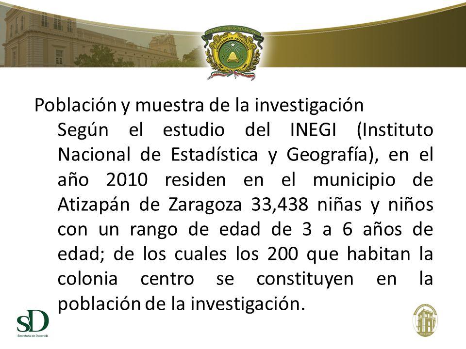 Población y muestra de la investigación Según el estudio del INEGI (Instituto Nacional de Estadística y Geografía), en el año 2010 residen en el municipio de Atizapán de Zaragoza 33,438 niñas y niños con un rango de edad de 3 a 6 años de edad; de los cuales los 200 que habitan la colonia centro se constituyen en la población de la investigación.