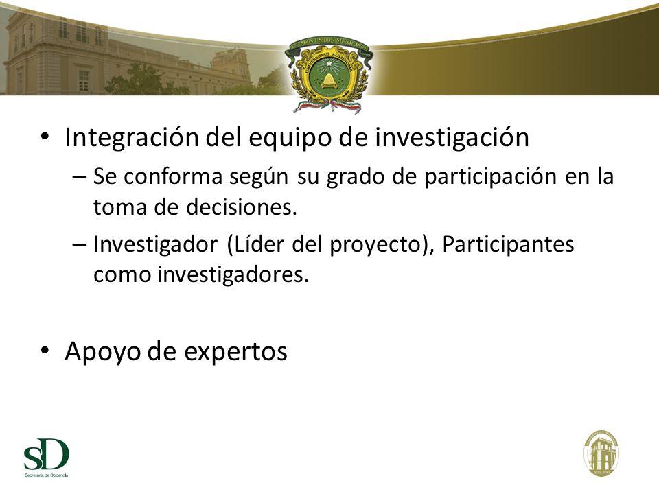 Integración del equipo de investigación – Se conforma según su grado de participación en la toma de decisiones. – Investigador (Líder del proyecto), P