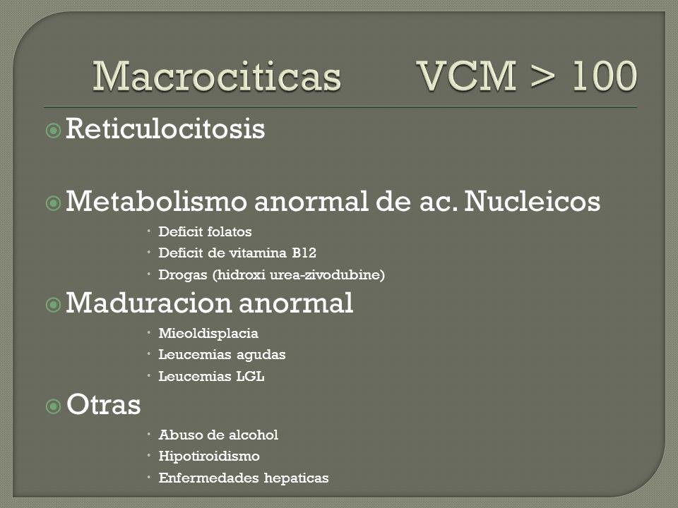 Reticulocitosis Metabolismo anormal de ac. Nucleicos Deficit folatos Deficit de vitamina B12 Drogas (hidroxi urea-zivodubine) Maduracion anormal Mieol