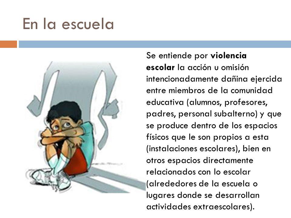 En la escuela Se entiende por violencia escolar la acción u omisión intencionadamente dañina ejercida entre miembros de la comunidad educativa (alumno