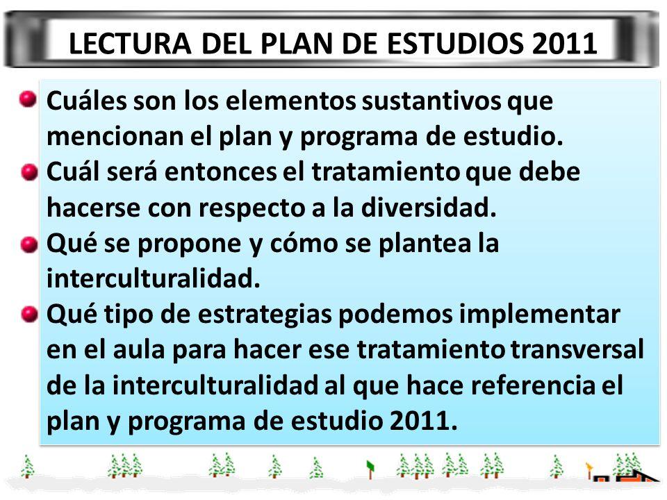 LECTURA DEL PLAN DE ESTUDIOS 2011 Cuáles son los elementos sustantivos que mencionan el plan y programa de estudio. Cuál será entonces el tratamiento