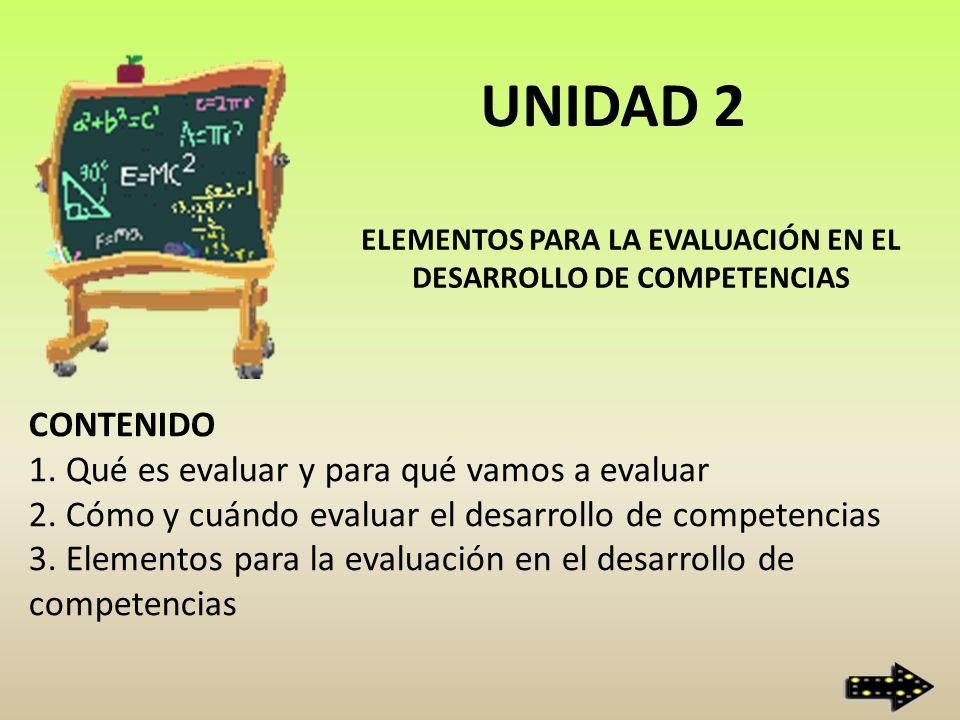 ELEMENTOS PARA LA EVALUACIÓN EN EL DESARROLLO DE COMPETENCIAS CONTENIDO 1. Qué es evaluar y para qué vamos a evaluar 2. Cómo y cuándo evaluar el desar