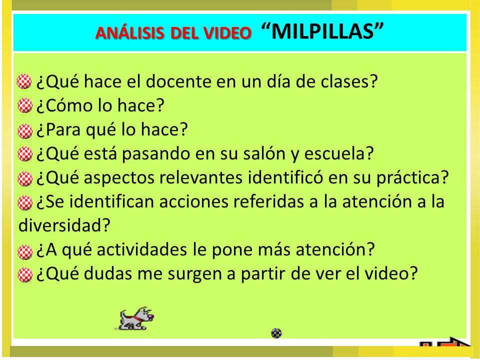 ANÁLISIS DEL VIDEO ANÁLISIS DEL VIDEO MILPILLAS ¿Qué hace el docente en un día de clases? ¿Cómo lo hace? ¿Para qué lo hace? ¿Qué está pasando en su sa