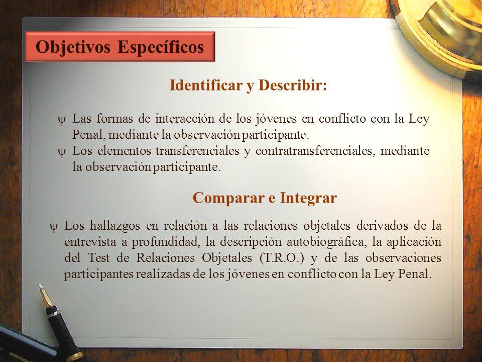 Las formas de interacción de los jóvenes en conflicto con la Ley Penal, mediante la observación participante. Los elementos transferenciales y contrat