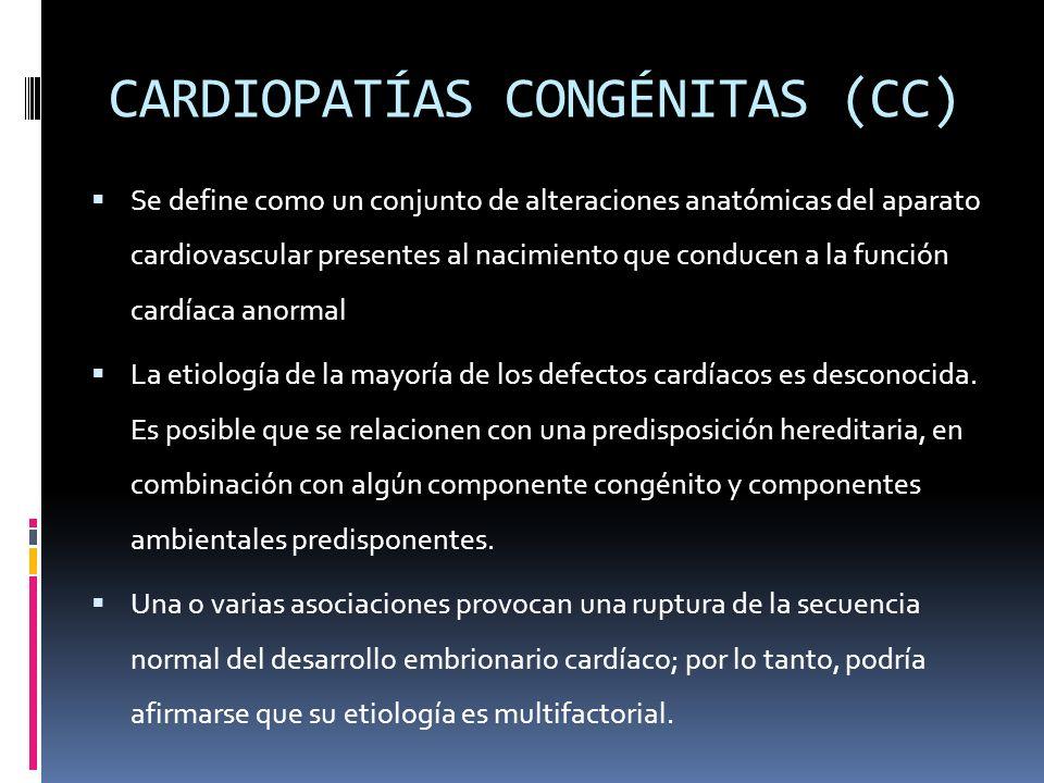 CARDIOPATÍAS CONGÉNITAS (CC) Se define como un conjunto de alteraciones anatómicas del aparato cardiovascular presentes al nacimiento que conducen a l