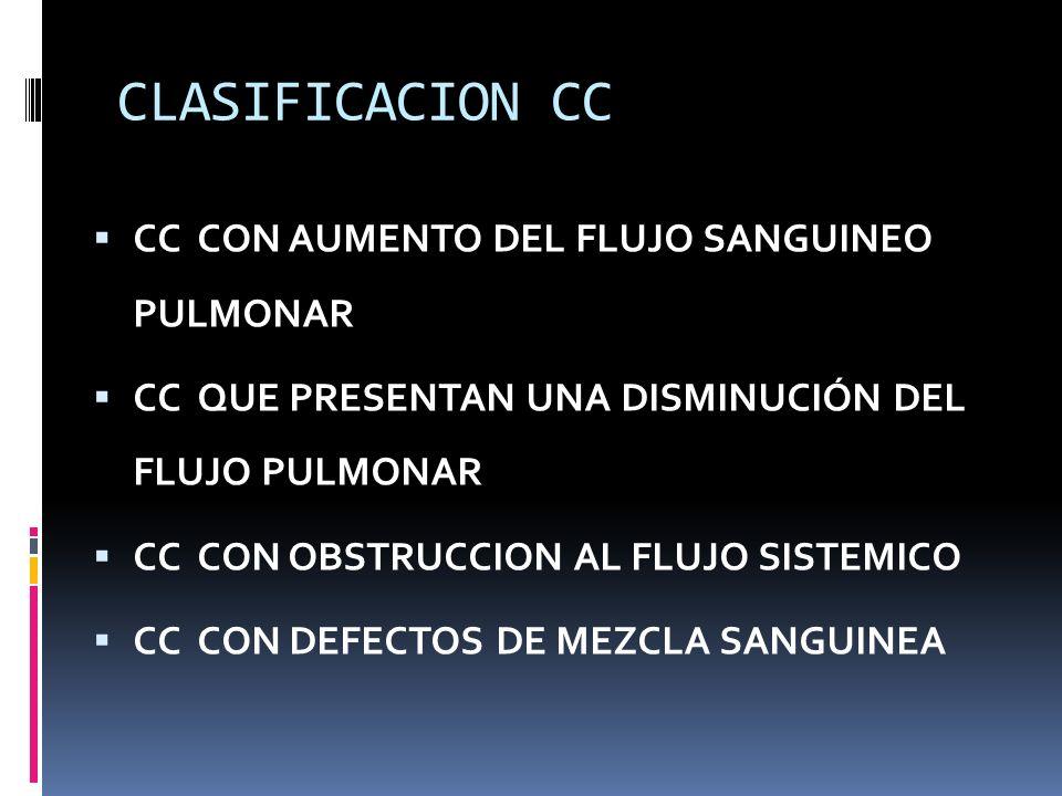 CLASIFICACION CC CC CON AUMENTO DEL FLUJO SANGUINEO PULMONAR CC QUE PRESENTAN UNA DISMINUCIÓN DEL FLUJO PULMONAR CC CON OBSTRUCCION AL FLUJO SISTEMICO