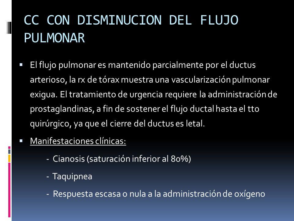CC CON DISMINUCION DEL FLUJO PULMONAR El flujo pulmonar es mantenido parcialmente por el ductus arterioso, la rx de tórax muestra una vascularización