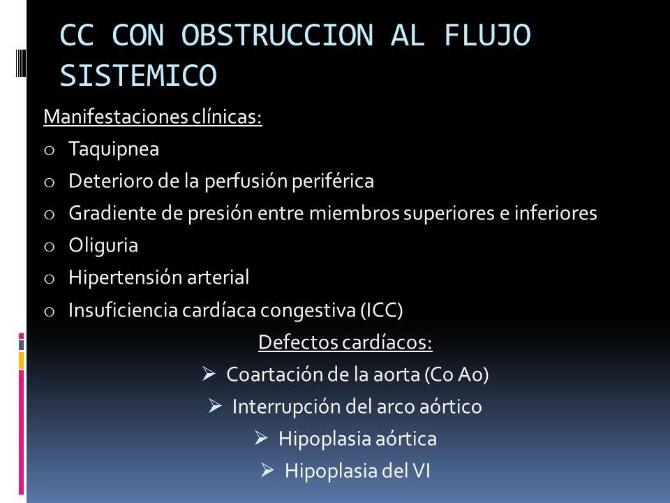 Manifestaciones clínicas: o Taquipnea o Deterioro de la perfusión periférica o Gradiente de presión entre miembros superiores e inferiores o Oliguria
