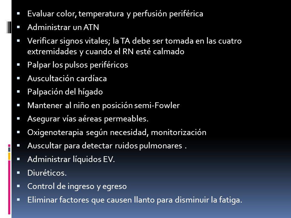 Evaluar color, temperatura y perfusión periférica Administrar un ATN Verificar signos vitales; la TA debe ser tomada en las cuatro extremidades y cuan