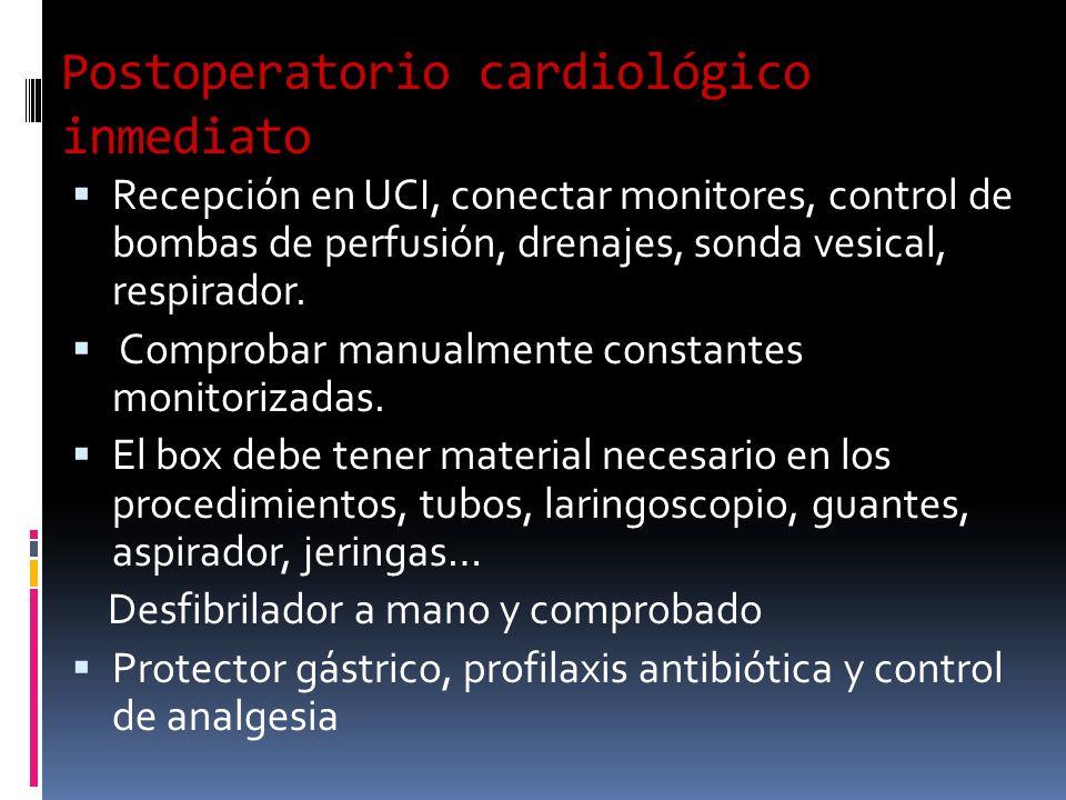 Postoperatorio cardiológico inmediato Recepción en UCI, conectar monitores, control de bombas de perfusión, drenajes, sonda vesical, respirador. Compr