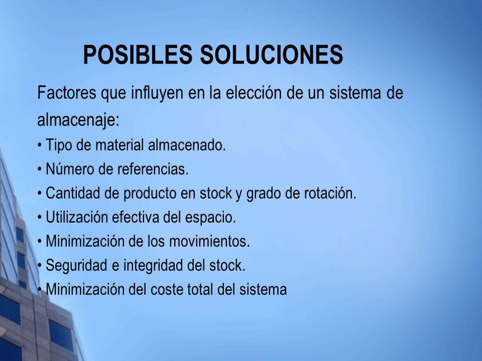POSIBLES SOLUCIONES Factores que influyen en la elección de un sistema de almacenaje: Tipo de material almacenado.
