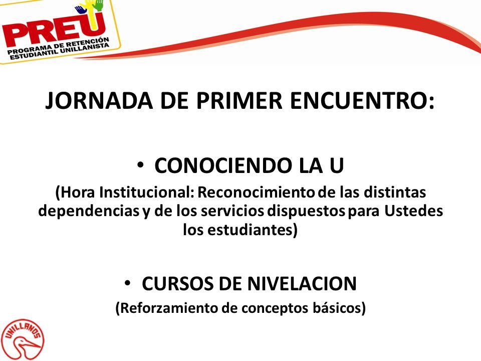 JORNADA DE PRIMER ENCUENTRO: CONOCIENDO LA U (Hora Institucional: Reconocimiento de las distintas dependencias y de los servicios dispuestos para Uste