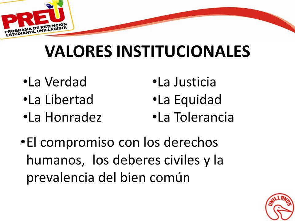 VALORES INSTITUCIONALES La Verdad La Libertad La Honradez La Justicia La Equidad La Tolerancia El compromiso con los derechos humanos, los deberes civ