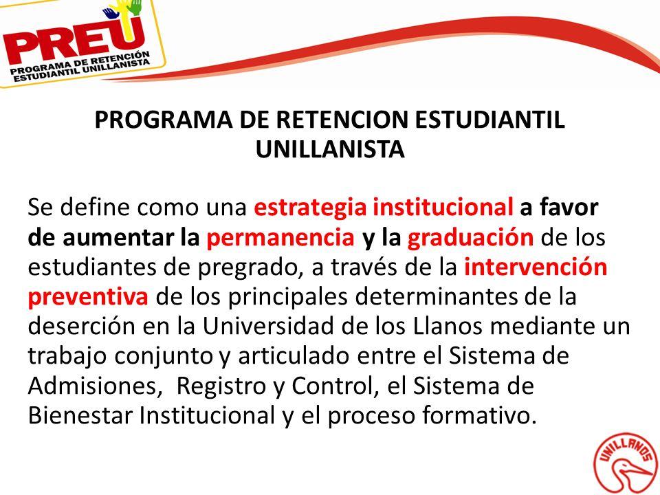 PROGRAMA DE RETENCION ESTUDIANTIL UNILLANISTA Se define como una estrategia institucional a favor de aumentar la permanencia y la graduación de los es