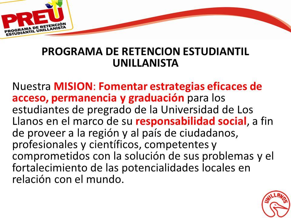 PROGRAMA DE RETENCION ESTUDIANTIL UNILLANISTA Nuestra MISION: Fomentar estrategias eficaces de acceso, permanencia y graduación para los estudiantes d