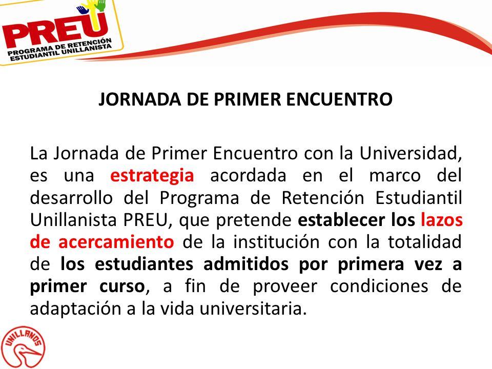 JORNADA DE PRIMER ENCUENTRO La Jornada de Primer Encuentro con la Universidad, es una estrategia acordada en el marco del desarrollo del Programa de R