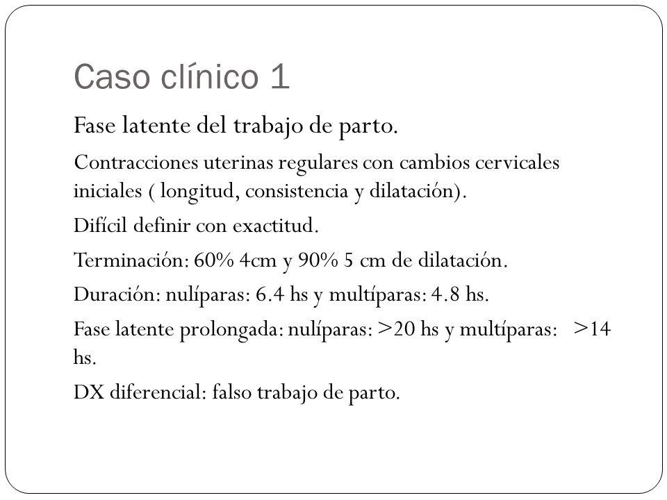 Caso clínico 1 Fase latente del trabajo de parto. Contracciones uterinas regulares con cambios cervicales iniciales ( longitud, consistencia y dilatac