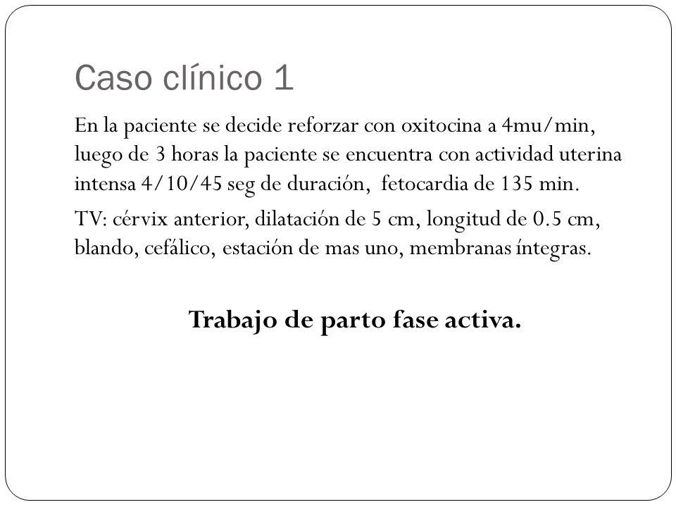 Caso clínico 1 En la paciente se decide reforzar con oxitocina a 4mu/min, luego de 3 horas la paciente se encuentra con actividad uterina intensa 4/10