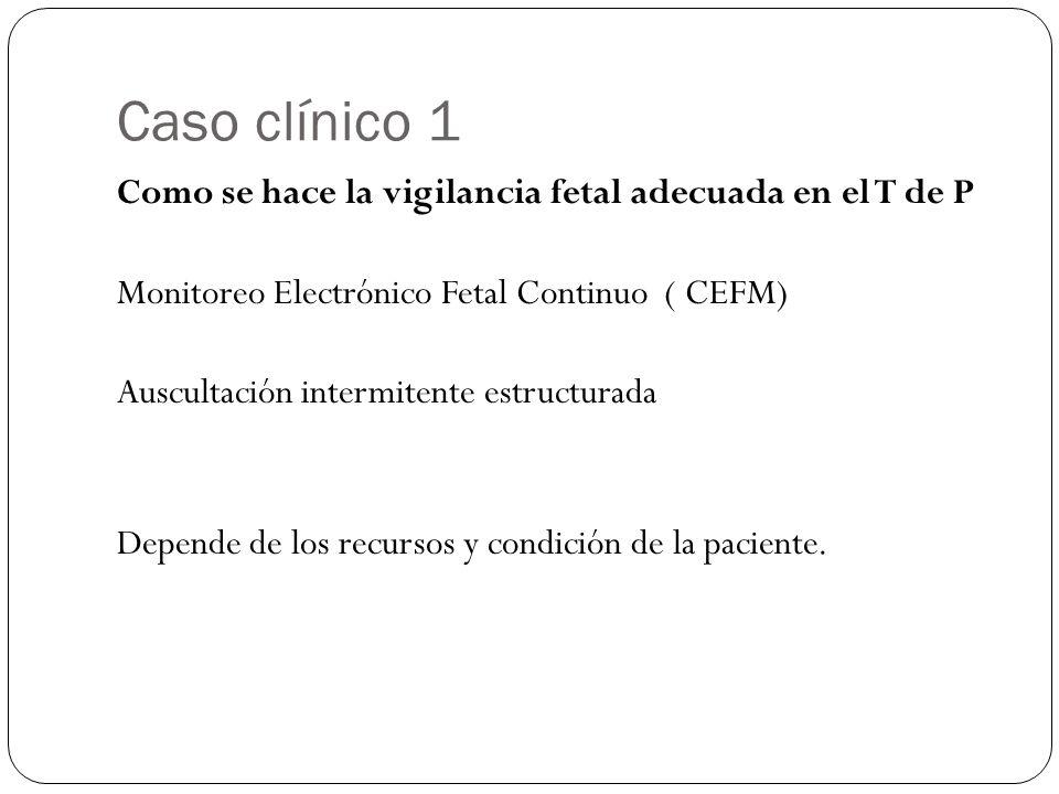 Caso clínico 1 Como se hace la vigilancia fetal adecuada en el T de P Monitoreo Electrónico Fetal Continuo ( CEFM) Auscultación intermitente estructurada Depende de los recursos y condición de la paciente.