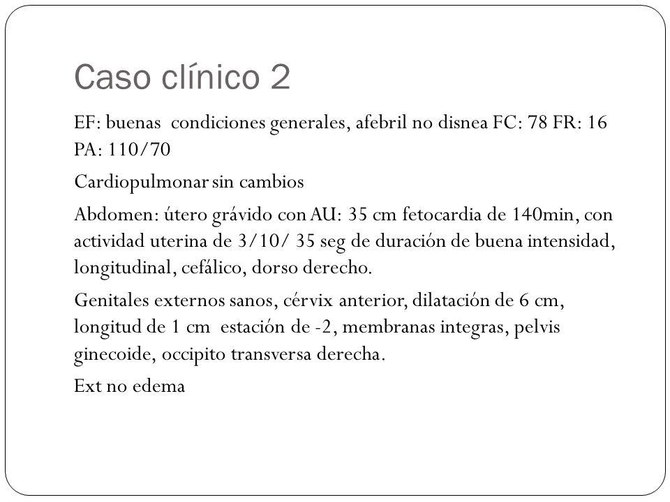 Caso clínico 2 EF: buenas condiciones generales, afebril no disnea FC: 78 FR: 16 PA: 110/70 Cardiopulmonar sin cambios Abdomen: útero grávido con AU: 35 cm fetocardia de 140min, con actividad uterina de 3/10/ 35 seg de duración de buena intensidad, longitudinal, cefálico, dorso derecho.