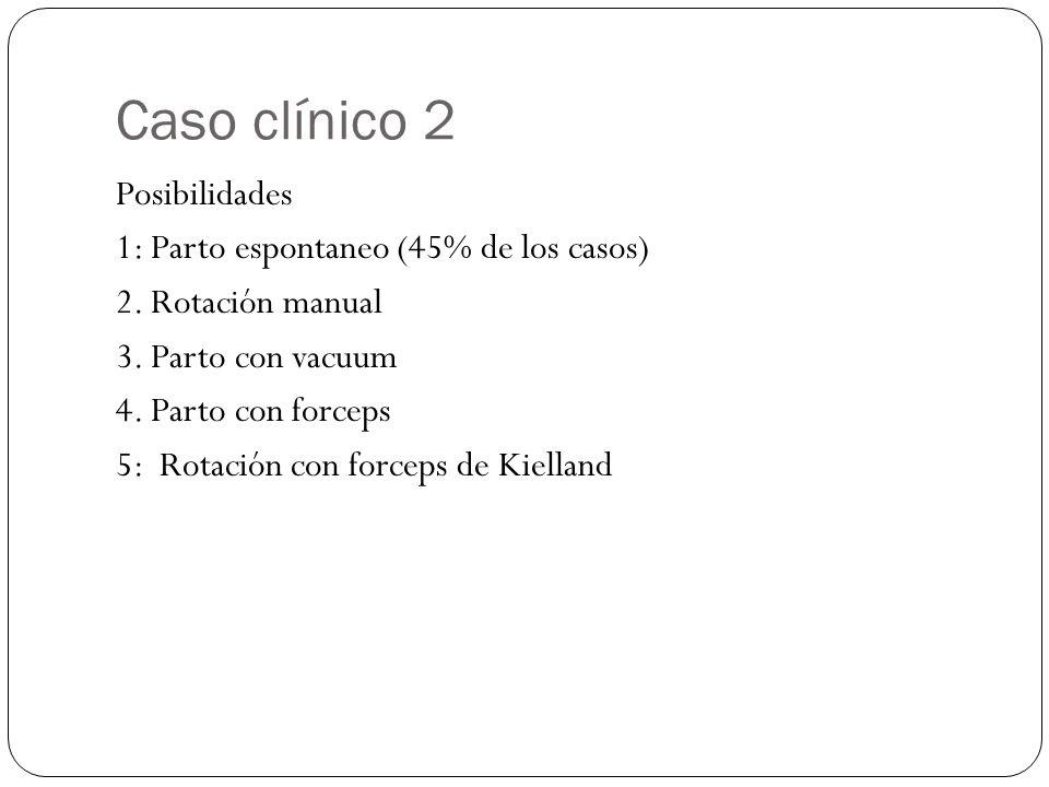 Caso clínico 2 Posibilidades 1: Parto espontaneo (45% de los casos) 2. Rotación manual 3. Parto con vacuum 4. Parto con forceps 5: Rotación con forcep