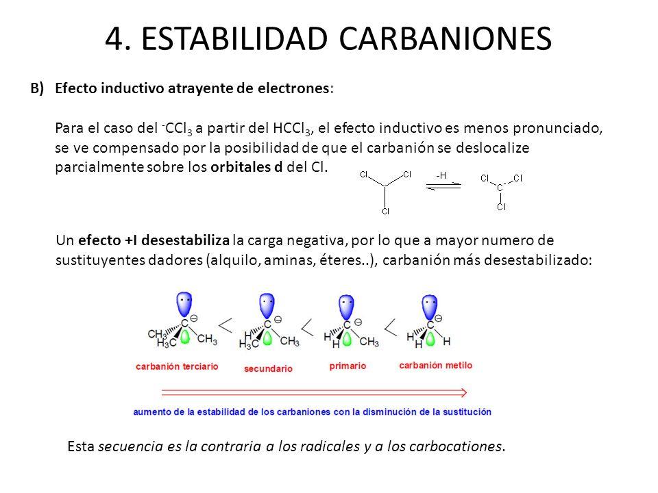 4. ESTABILIDAD CARBANIONES B)Efecto inductivo atrayente de electrones: Para el caso del - CCl 3 a partir del HCCl 3, el efecto inductivo es menos pron